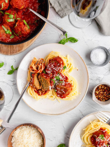 spaghetti lentilballs cut
