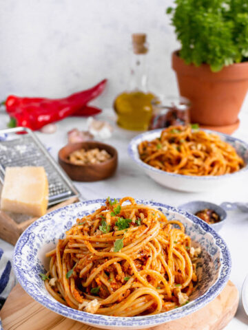 Eggplant red pepper pesto pasta